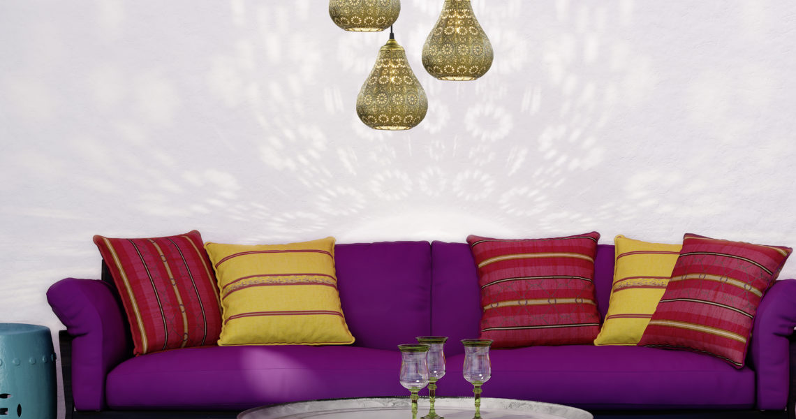 Contemporary bohemian elegant  fresh moroccan living room